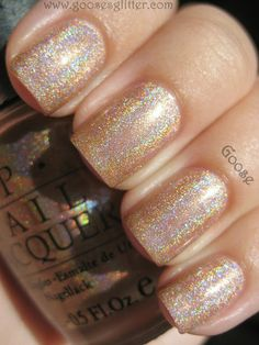 OPI - DS Design (My nails are so terrible, I have no idea where this nail polish obsession comes from) Gold Nail Polish, Nail Polish Colors, Cute Nails, Pretty Nails, Nagel Blog, Manicure Y Pedicure, Holographic Nails, Opi Nails, Manicures