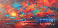 """""""Sunset On The Lake"""" abstract art by Karen Chatham (framed prints available)"""