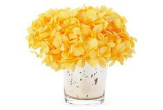"Living room accent 4"" Hydrangea in Votive, Yellow"