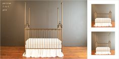 Parisian baby crib in gold glitters and shines! Love this design, 3 in standard, four poster and canopy. Perfect for your luxury nursery. Best Changing Table, Luxury Nursery, Nursery Design, Baby Cribs, Gold Glitter, Parisian, Canopy, Toddler Bed, Elegant
