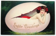 Risque Beautiful Brunette Woman in A Pink Easter Egg Fantasy Postcard | eBay