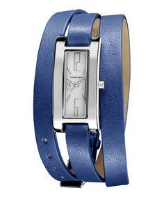 Silver & Blue Slim Quartz Triple-Wrap Watch #zulily #zulilyfinds