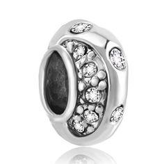 Clear Crystal Charm Bead Pandora Chamilia Compatible | Charmsstory.com