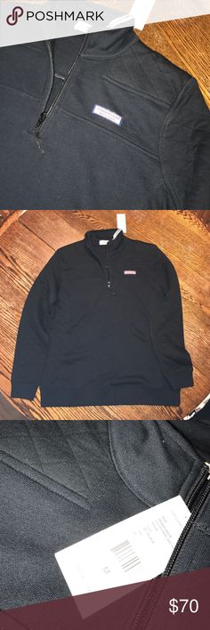 RARE Women's BLACK Semi-Quilted Shep Shirt Extremely rare color for the Vineyard Vines brand this super cute black Shep shirt was supposed to be for my mom but was too big. The quilted fabric is featured on the shoulder, the arms and the sides. The Vineyard Vines box logo is on the chest and a small embroidered black whale is on the back of the color. Vineyard Vines Sweaters