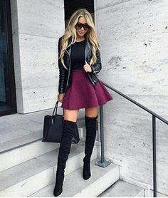 Black thigh high boots make for great outfits throughout the fall and winter! overknees outfit 15 Must-Have Outfits With Black Thigh High Boots Thigh High Boots Outfit, Black Thigh High Boots, High Boot Outfits, Thigh High Outfits, Outfits With Boots, Tall Boots Outfit, Leather Knee High Boots, Tall Black Boots, High Heeled Boots