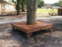 "I want this for the front tree! ""Wrap around tree bench - needs to be a mix of simple to build, comfortable for adults & a great jumping off, walking around & play table for kids (and could possibly morph into part of a tree house in the future). Landscaping Around Trees, Backyard Trees, Backyard Landscaping, Big Backyard, Backyard Projects, Outdoor Projects, Garden Projects, Pallet Projects, Tree Seat"