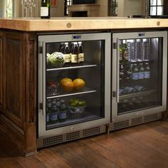 Cool idea for a custom home design/kitchen remodel: 2 undercounter refrigerators - Refrigerator - Trending Refrigerator for sales. - Cool idea for a custom home design/kitchen remodel: 2 undercounter refrigeratorsuse instead of standard size Major Kitchen Appliances, Kitchen Pantry, New Kitchen, Kitchen Dining, Kitchen Decor, Design Kitchen, 1950s Kitchen, Country Kitchen, Island Kitchen