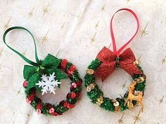 Items similar to Tinsel Ornament, Gifts, Party Favor, Teacher Gift, Token Gift on Etsy Felt Christmas Ornaments, Christmas Toys, Hanging Ornaments, Christmas Crafts For Kids, Xmas Crafts, Victorian Christmas Decorations, Crafts For Seniors, Holiday Wreaths, Tassels