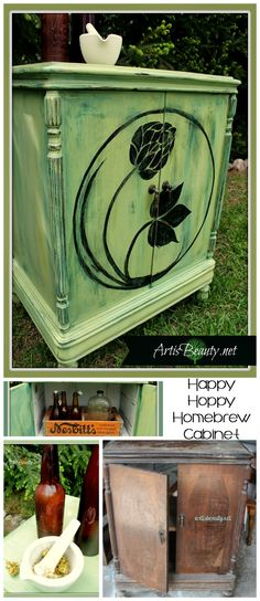 ART IS BEAUTY: Beat up ANTIQUE Music Cabinet turned Hand Painted HAPPY HOPPY Homebrew Bar