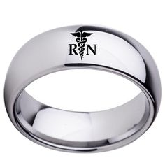 Classic and Stylish RN Grad Ring - Black or Silver Polished Tungsten Mens Rings, Tungsten Wedding Rings, Wedding Rings For Women, Wedding Bands, Rings For Men, Nurse Jewelry, Engraved Rings, Black Rings, Beautiful Rings