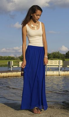 Blue maxi skirt outfit, summer outfit 2014