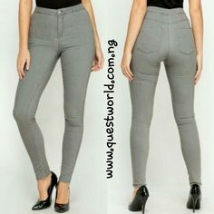 High Waist Skinny Grey Jeans size 14 #7000 Enter QW1000 for #1000 off orders above #15000 www.questworld.com.ng Pay on delivery in lagos. Nationwide delivery