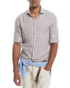 BRUNELLO CUCINELLI MULTI-STRIPE LINEN SPORT SHIRT. #brunellocucinelli #cloth #