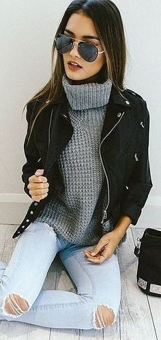 Washed 'Ashley' Jeans + Grey Chunky Turtleneck + Black 'Rocker Chic' Jacket