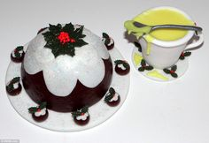 Stunning cake versions of Christmas pudding and brandy butter. Mrs Harwood said she dropped a few pounds off her weight while baking