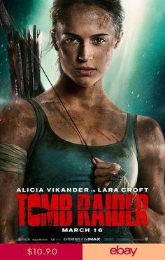 """Check out the new """"Tomb Raider"""" theatrical one sheet movie poster featuring Academy Award winner Alicia Vikander as Lara Croft! Tomb Raider Full Movie, Tomb Raider Film, Tomb Raider 2018, 2018 Movies, Hd Movies, Movies To Watch, Movies Online, Movie Tv, Mike Movie"""