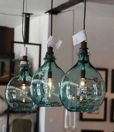 Wonderful lighting idea using blue bottles