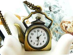 Pot Cup  pocket watch   necklaceV 90Tea mirror  by XsisterJewelry, $6.99