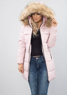 aed6c23d113aa Padded Faux Fur Hooded Longline Puffer Coat Parka Pink  https   www.lilylulufashion