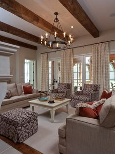 Beams, drapes with single rod. Traditional Family Room Design, Pictures, Remodel, Decor and Ideas - page 2