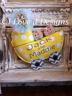 Hey, I found this really awesome Etsy listing at https://www.etsy.com/listing/178888457/baby-carriage-burlap-door-hanger