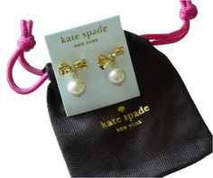kate spade-14k Gold-Plated Faux Pearl Stud Earrings & Necklace Set PLUS Pave crystal and faux pearl earrings