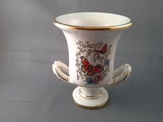 Manousakis Keramik Hand Made Gold Rodos Greece Urn Butterfly, Flowers
