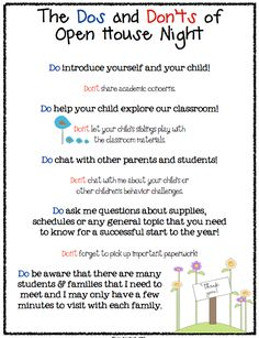 """FREE MISC. LESSON - """"Dos and Don'ts of Open House Parent to Teacher Info Sheet FREEBIE"""" as seen on Kindergarten Klub  www.kindergartenk..."""