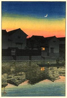 hanga gallery . . . torii gallery: Crescent Moon at Matsue, Izumo by Kawase Hasui