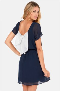 Words of Love Navy Blue Dress at LuLus.com!