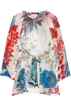 Roberto Cavalli Floral-print silk-chiffon kaftan | NET-A-PORTER