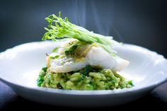 A delicious recipe for Spring Pea Risotto with Halibut, Mint and Lemon.... using fresh spring peas. Tasty recipe!