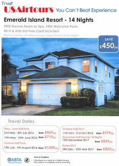 Latest Orlando Villa Holiday Offers from USAirtours October Half Term, Florida Holiday, Virgin Atlantic, Travel Dating, British Airways, Island Resort, Florida Travel, Game Room, Orlando