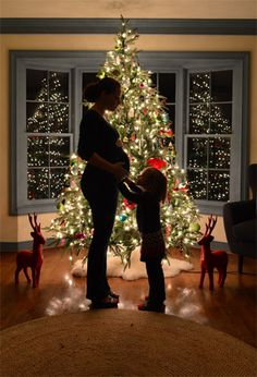 Here's how to take a pic like this in front of the tree (cute for kids, a pet, maternity pics, etc)