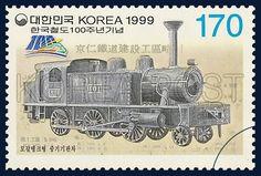 The centennial of the Korean National Railroad, commemoration, train, Ivory, Gray, 1999 9 18, 한국철도 100주년기념, 1999년 09월 18일, 1998, 모갈탱크형 증기기관차, postage 우표,