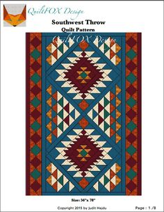 (7) Name: 'Quilting : Southwest Style Throw - 56'x 78'