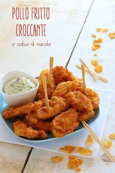 Pollo fritto croccante in salsa di rucola