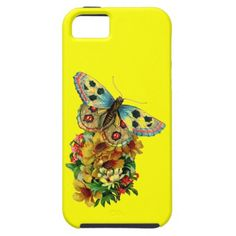 Vintage summer feeling butterfly on flower bouquet iPhone 5/5S covers