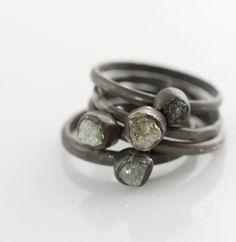 Silver Rough Diamond Oxidized Ring by VKDesignsJewelry on Etsy, $165.00