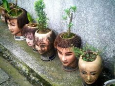 Ever wonder what happens to all the practice heads used at beauty schools? I never really put much thought into it. Slightly creepy (perfect for Halloween!), these potted heads were spotted outside of a salon in Japan. Mannequin Art, Head Planters, Fall Planters, Garden Planters, Cactus Y Suculentas, Kamakura, Creepy Dolls, Doll Parts, Doll Head