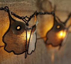 Burlap Owl String Lights #potterybarn    owl lights how awesome are these?