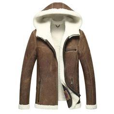 $460   mens sheepskin fur coat lamb fur Leather jacket menfolk Shearling Outerwear Men's Sheepskin Jacket Hooded Coats
