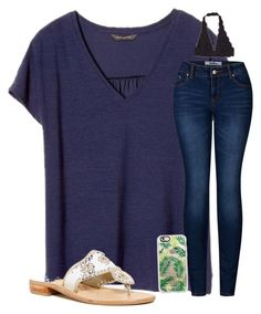 """""""Happy Friday"""" by christyaphan ❤ liked on Polyvore featuring Banana Republic, 2LUV, Casetify and Jack Rogers"""