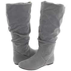 rsvp Wynona Women's Dress Pull-on Boots, Gray (59 CAD) ❤ liked on Polyvore featuring shoes, boots, grey, gray flat boots, gray slouch boots, slip on shoes, flat boots and slouch boots