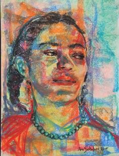 Amazing Frida Kahlo painting by Mexican artist Amy Gastelum art pastel Mexican Artists, Pastel Painting, Kahlo Paintings, Painting, Art
