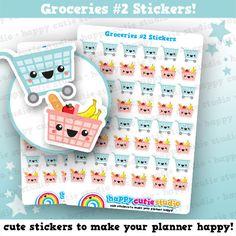 48 Cute Groceries 2/Shopping/Food Planner by HappyCutieStudio