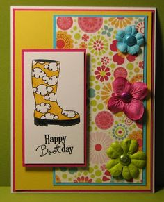 Stampin' Up Supplies: Cardstock: Whisper White, Melon Mambo, Daffodil Delight, Tempting Turquoise Stamps: Bootiful Occasions Ink: Basic Black Embellishments: Glimmer Brads - Brights Collection Non-SU: flowers, pattern paper