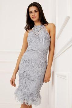 abd846e3 Buy Lipsy VIP Lace Feather Hem Dress from Next Denmark. Sølv KjoleFjer