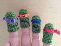 Set Teenage Mutant Ninja Turtle Finger Puppet TMNT Amigurumi Crochet Animal Amigurumi, Amigurumi Patterns, Amigurumi Doll, Crochet Animals, Crochet Dolls, Crochet For Kids, Crochet Baby, Knit Crochet, Mutant Ninja