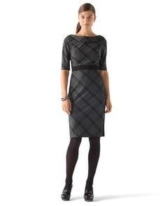 White House | Black Market Bias-Plaid Dress Hard to tell from the pic but it has that great 50's inspired neckline